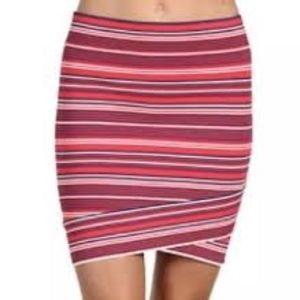 BCBGMAXAZRIA Women's Ivy Striped Criss Cross Skirt